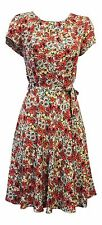 New Vintage 1930s 40s WW2 Style Wartime Ditsy Floral Viscose Tea dress UK 12
