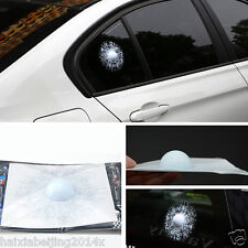 3D White Golf Ball Hits Window Car GolfBall Sticker Broken Glass Crack Decals