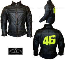 VALENTINO ROSSI STYLE MENS BLACK MOTORBIKE / MOTORCYCLE LEATHER JACKET