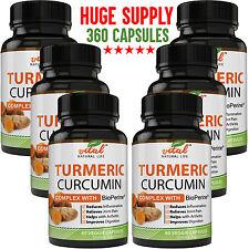 Turmeric Curcumin Complex With BioPerine Black Pepper Extract 360 Capsules