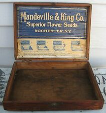 ANTIQUE WOOD DOVETAILED BOX MANDEVILLE & KING C0 FLOWER SEEDS ROCHESTER,NY LABEL