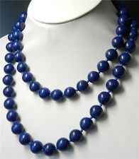 10mm Blue Lapis Lazuli Round Beads Necklace Length: 36 Inches