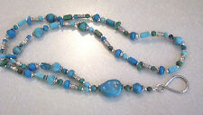 Southwest Style Faux Turquoise Silver Plate Bead Badge ID Necklace Lanyard OOAK