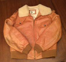Vintage Men's Silton 1970's Brown Leather & Fleece Bomber Zip Coat or Jacket 44