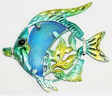 BLUE CRACKLE GLASS FISH PLAQUE LUCKY WALL HANGING DECORATION FOR GARDEN 15CM new