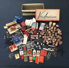Huge Vintage Sewing Notions Lot Thread Spools Needles Treet Singer Star Buttons