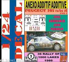 ANEXO DECAL KIT 1/24 PEUGEOT 205 TURBO 16 E2 J.KANKKUNEN 1000 LAKES 1986 (01)