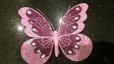 18cm Decorative Glitter Jewelled Clip-on Butterfly pink Large Wedding