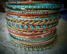 22 Bangles Set Mixed Metals Turquoise Glass Beads & Crystals High End