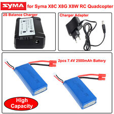 RC 2x7.4V 2500mAh Lipo Battery+2 V 1 2S Balance Charger for Syma X8HW X8HC X8HG