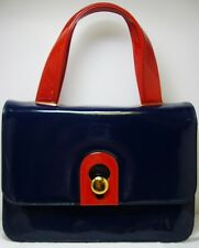 Vintage Morris Moskowitz Navy Blue & Red Patent Leather Handbag Purse Bag