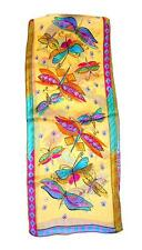 SCARF Long Silk Violet Turquoise Orange Black Purple Tan DRAGONFLIES IN FLIGHT