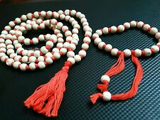 "TULSI JAPA MALA PRAYERS WOOD ORANGE SPIRITUAL ROSARY BRACELET NECKLACE 36""L"