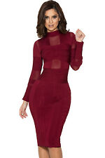 HOUSE OF CB 'Maiko' Wine Bandage and Mesh Dress 'FAULTY' SS 6091