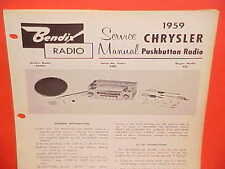 1959 CHRYSLER WINDSOR 300E NEW YORKER CONVERTIBLE BENDIX RADIO SERVICE MANUAL 1