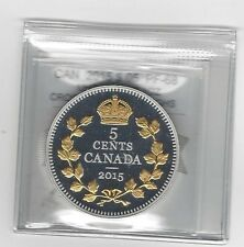 **2015**CM Graded Can, 5 Cent, **PF-68 UHC** 1oz. Silver Crossed Maple Boughs
