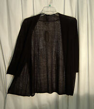 BLACK PERFORATED OPEN WEAVE DRAPE FRONT KNIT CARDIGAN JACKET SWEATER TOP~1X~NEW