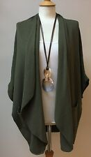 ULTRA SOFT OPEN CARDIGAN-LAGENLOOK CASHMERE -MADE IN ITALY KHAKI- OSFA ANY SIZE
