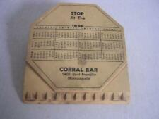 Vintage Coral Bar 1401 E Franklin Minneapolis MN Ice Scraper-1966 Calendar Combo