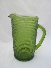 Anchor Hocking  SORENO Avocado Green 26 oz Water Pitcher Pressed Bark Retired EC
