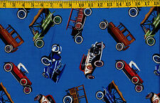 Vintage Antique cars Tossed ON Blue cotton quilt fabric  BTY Timeless Treasures