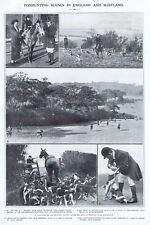 FOX HUNTING Scenes in England and Scotland - Vintage Print 1922
