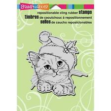 Stampendous Wonderous Kitten Cling Rubber Stamps-Christmas Santa Kitty-Cat