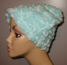 Chemo Cancer Hat Turquoise  Furry  Fleece  AlopeciaTurban