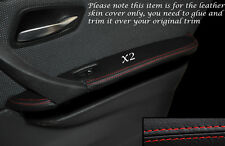 RED STITCH 2X REAR DOOR ARMREST SKIN COVERS FITS BMW 3 SERIES E90 06-11 5DR