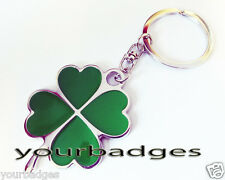 New Chrome Metal 4 leaf clover key chain keyring good Luck Protection Amulet
