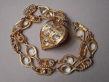 1960s Signed DeLillo Crystal & Gold Tone Chain Necklace Florentine Fob Pendant