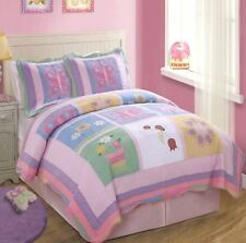 ANNAS DREAM Twin QUILT SET : GIRLS BUTTERFLIES PURPLE PINK BUTTERFLY LADYBUG
