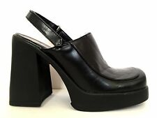 Vtg 90s Chunky Platform 8 Black Heels Mules Ankle Strap Faux Leather Clogs