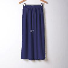 Women Double Layer Chiffon Pleated Retro Long Maxi Dress Waist Skirts HOT Beach