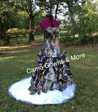 Custom Made CAMO Wedding Dress Draped Camouflage Wedding Gown with White Train