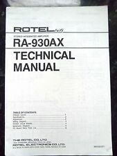 ROTEL TECHNICAL (service) MANUAL for RA-930AX Stereo Integrated Amplifier