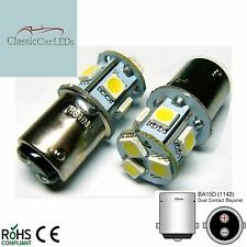 2x 24 VOLT WARM WHITE LED BULBS GLB150 BA15D 5W POSITIVE & NEGATIVE EARTH 24V