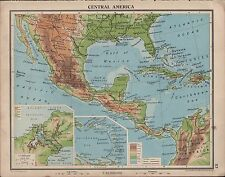 1939 MAP ~ CENTRAL AMERICA MEXICO WEST INDIES PANAMA CANAL JAMAICA CUBA