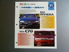 "Buick Riviera vs Volvo C70 ""Head to Head"" IMP ""Hot Cars"" Spec Sheet Folder RARE!"