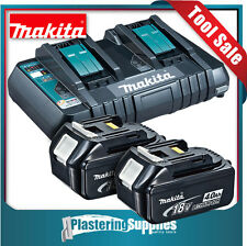 Makita DC18RD 18v Li-Ion Cordless Dual Battery Rapid Charger +2x 4.0Ah Batteries