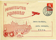 Ganzsachen-Brief Bern Schweiz Philatelisten Kongress o 1929
