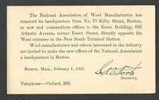 1901 P C BOSTON MA THE NATL ASSOC OF WOOL MFRS MOVES TO NEW LOCATION