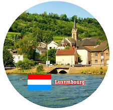 LUXEMBOURG - SIGHTS / FLAG - ROUND NOVELTY SOUVENIR FRIDGE MAGNET - NEW  GIFT