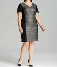 DKNYC NEW Black Silver Metallic Color Block Cocktail Work Dress Plus 20 20w $159