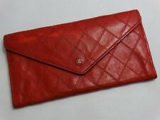 WOW!!! US SELLER Authentic CHANEL WALLET RED STITCH LEATHER COCO PURSE FRANCE