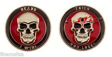 "HEADS I WIN TAILS YOU LOSE SKULL BULLET HOLE BLOOD SNIPER  1.75"" CHALLENGE COIN"