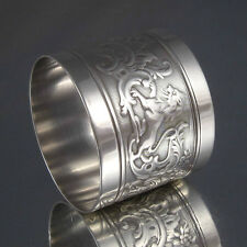 Antique French Sterling Silver Napkin Ring, Hallmark, Dupont, Lions, Monogrammed