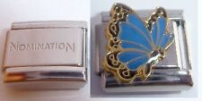 BLUE BUTTERFLY 9mm Italian Charm + 1x Genuine Nomination Classic Link N28