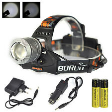 Boruit 6000Lm XM-L T6 LED Headlamp Head Light Zoom Flashlight Torch 2x18650 Char