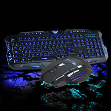3Color LED Backlight Wired USB Gaming Keyboard and 5500DPI Mouse Mice Set Kit US